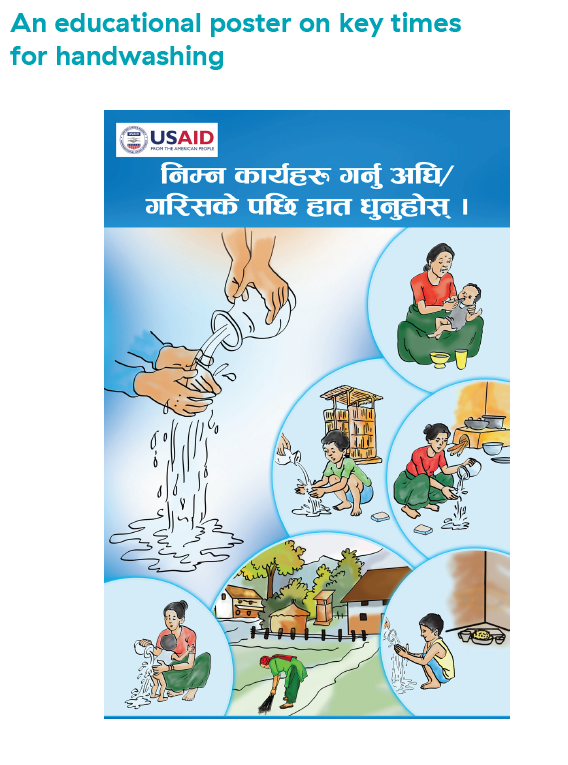 An educational poster on key times for handwashing in Nepal