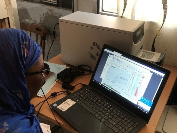 Dr. Ndiaye looks at charts and graphs on a laptop