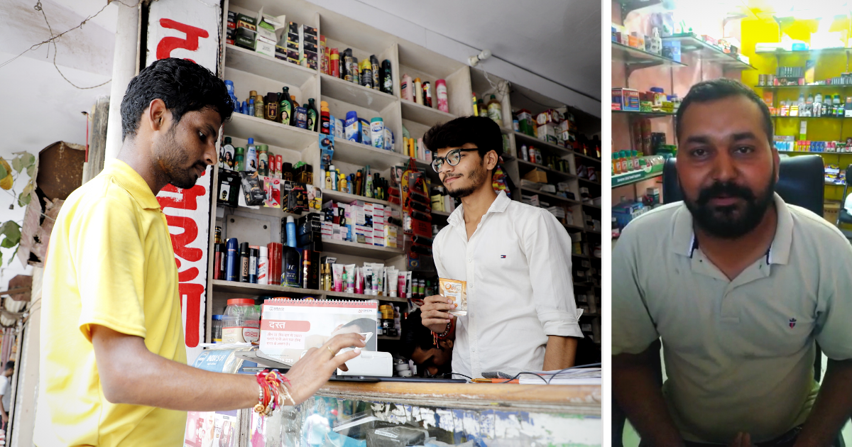 To the left is an image of a man buying a product at a store and on the right is a photo of a man named Kamlesh Pandy, a chemist