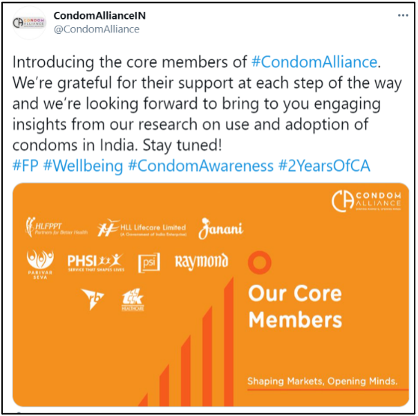 Image of a condom alliance tweet