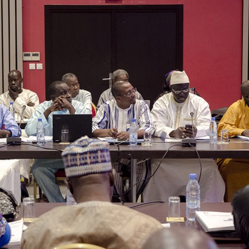 Participants sitting in a conference room for the dissemination workshop for the Senegal mapping report.