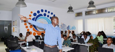 A presenter during the training of regional and district-level health management information systems officers in Tanzania.