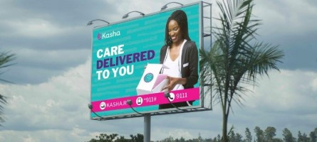 "A picture of a billboard in Rwanda advertising Kasha products as ""care delivered to you."""