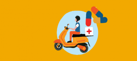 Graphic of a man on a scooter with medical bag