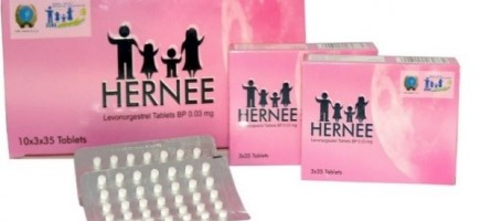 Image of a pink product box for the Hernee progestin-only pills